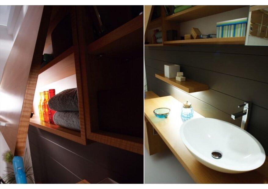 ארון אמבטיה שילוב שך עץ