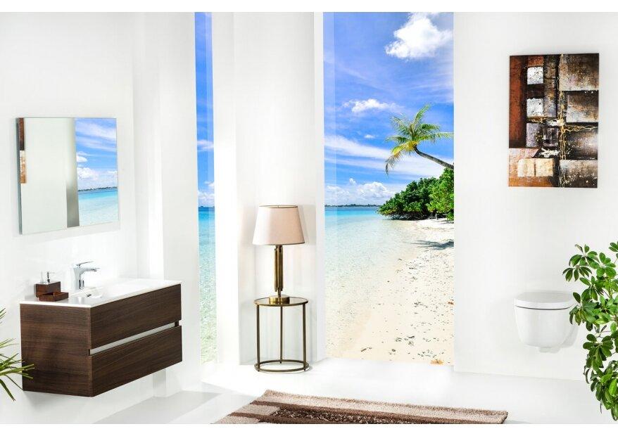 ארון אמבטיה תלוי דגם VALLESSI DUE אלון כהה עם כיור לבן מט