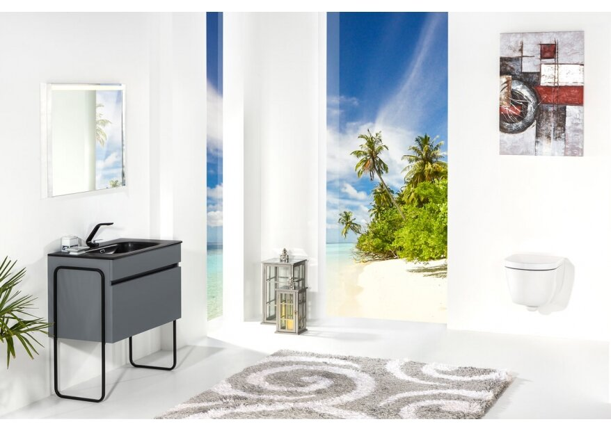 ארון אמבטיה תלוי דגם VALLESSI GRANDE אפור עם כיור שחור מט