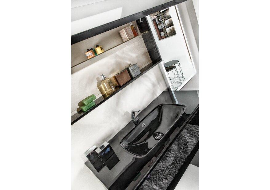 ארון אמבטיה תלוי זכוכית שחורה