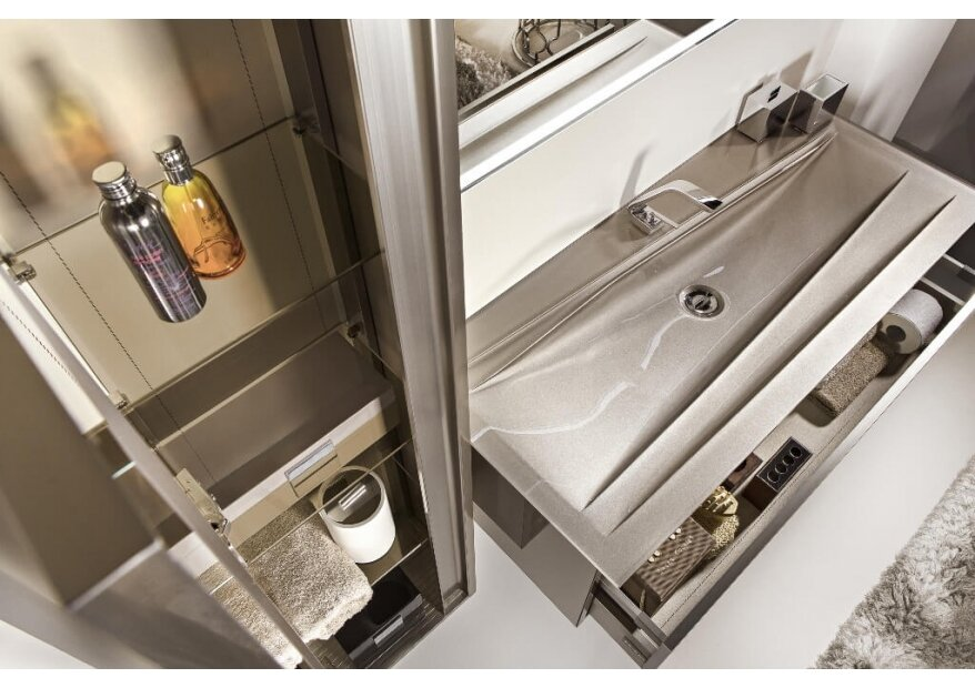 ארון אמבטיה תלוי זכוכית  ACQUA SLIM