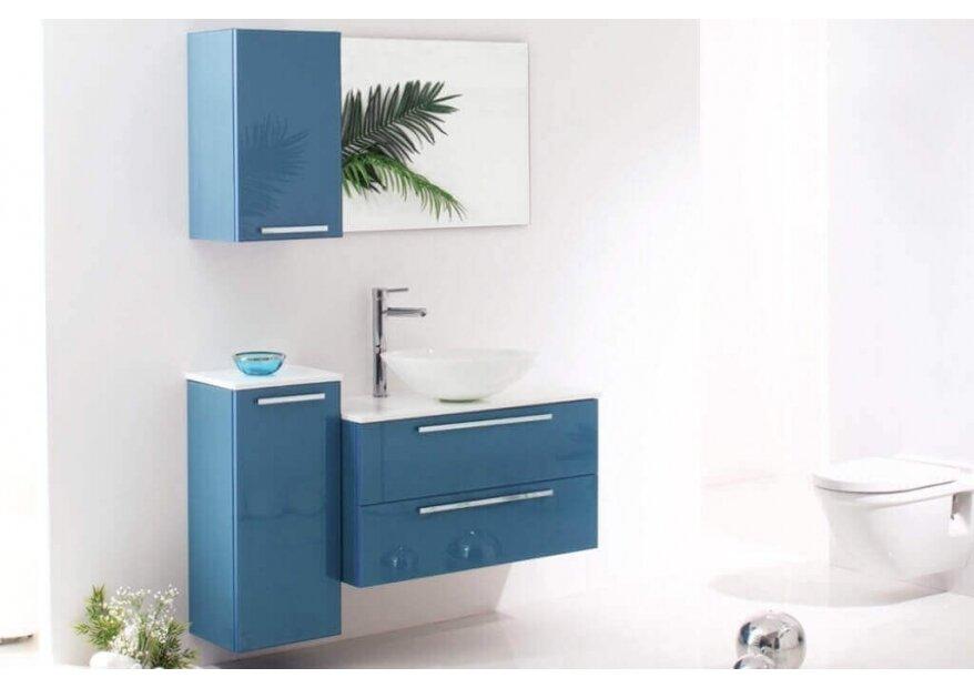 ארון אמבטיה Aqua Blue Glass עם כיור מונח