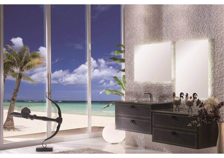 ארון אמבטיה acqua flat מצופה עור
