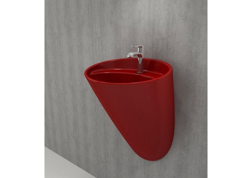כיור תלוי אדום מבריק
