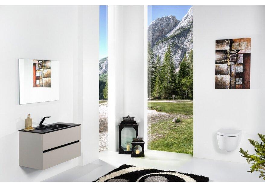 ארון אמבטיה תלוי דגם VALLESSI DUE קשמיר מט עם כיור שחור מט