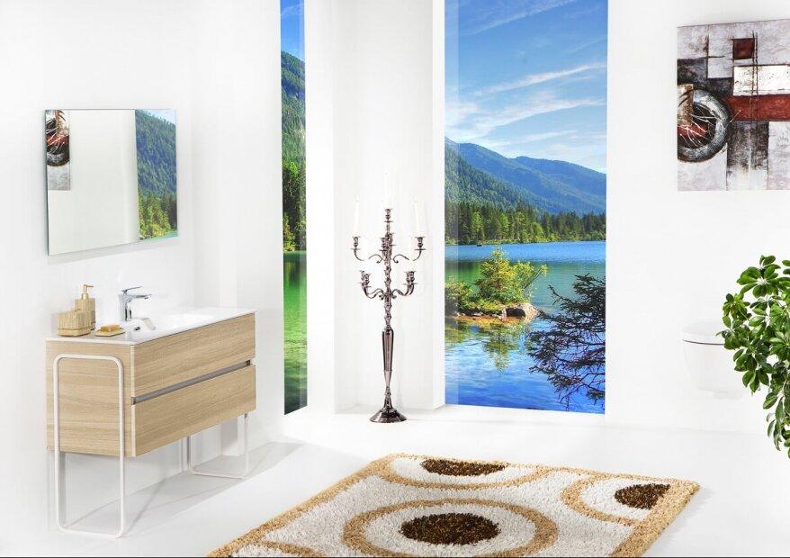 ארון אמבטיה תלוי דגם VALLESSI DUE אלון עם כיור לבן מט ורגלי מתכת לבנות