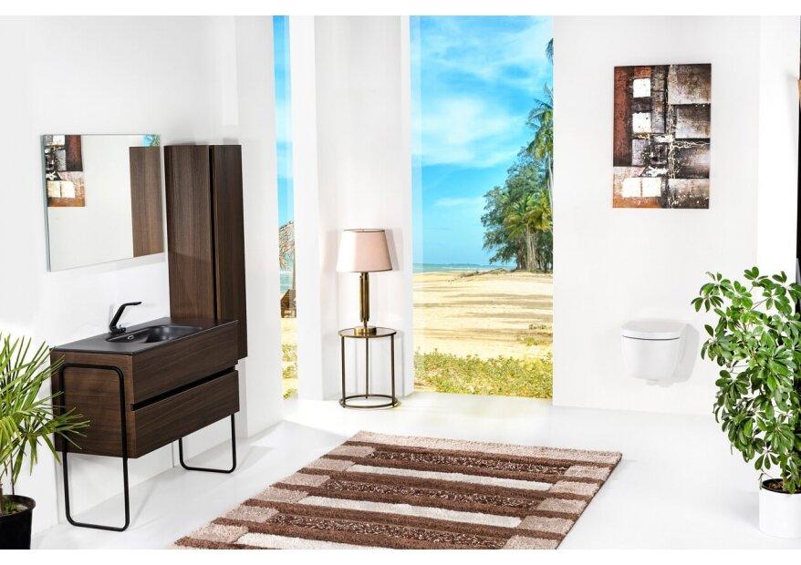 ארון אמבטיה תלוי דגם VALLESSI DUE אלון כהה עם כיור שחור מט ורגליים מתכת שחורה