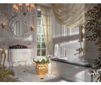 ארון אמבטיה מעוצב בגוון לבן עם דקורים בזהב