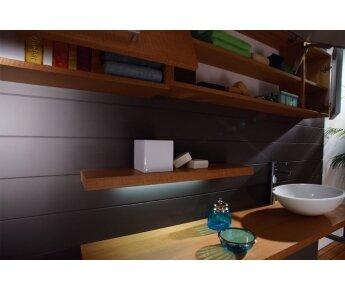 ארון אמבטיה שילוב שך עץ וזכוכית