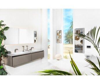 ארון אמבטיה תלוי דגם ACQUA SLIM דמוי עור מעויינים עם כיור כפול