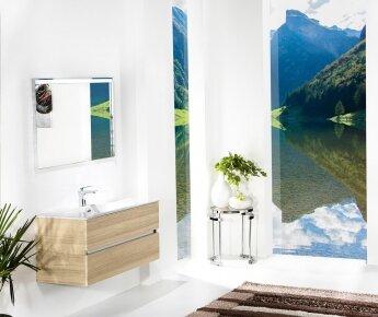 ארון אמבטיה תלוי דגם VALLESSI DUE אלון עם כיור לבן מט