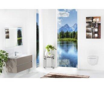 ארון אמבטיה תלוי דגם VALLESSI DUE אפור אבן מט עם כיור לבן מט