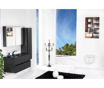 ארון אמבטיה תלוי דגם VALLESSI DUE גרפיט מט עם כיור שחור מט