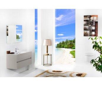 ארון אמבטיה תלוי דגם VALLESSI DUE קשמיר מט עם כיור לבן מט