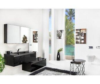ארון אמבטיה תלוי זכוכית שחורה דגם ACQUA SLIM