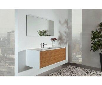 ארון אמבטיה Cubic לבן משולב עץ