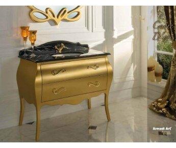 ארון אמבט בגוון זהב בסגנון קלאסי