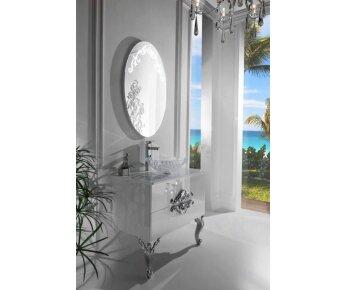 ארון אמבטיה ECO CLASSIC לבן כסוף - ארון אמבט לבן מבריק