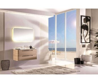 ACQUA RADIUS ארון אמבטיה דגם עץ אגוז