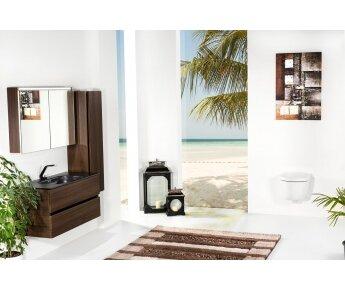 ארון אמבטיה תלוי דגם VALLESSI DUE אלון כהה עם כיור שחור מט