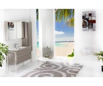 ארון אמבטיה תלוי דגם VALLESSI DUE אפור אבן  מט עם כיור לבן מט ורגליים מתכת